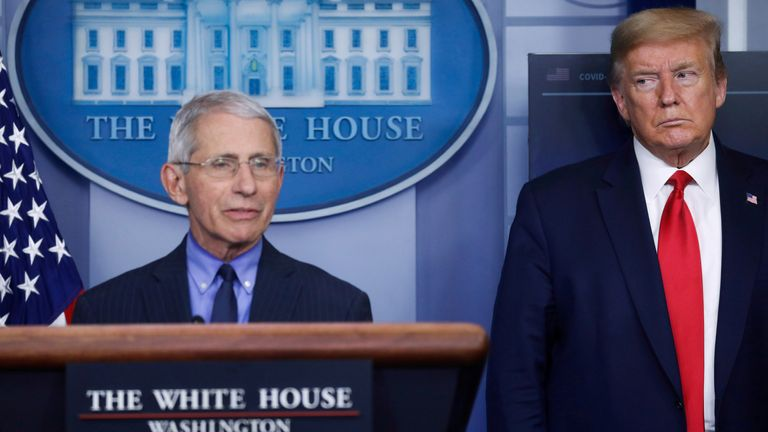 U.S. President Donald Trump looks at National Institute of Allergy and Infectious Diseases Director Dr. Anthony Fauci at the White House in Washington, U.S., April 17, 2020. REUTERS/Leah Millis/File Photo