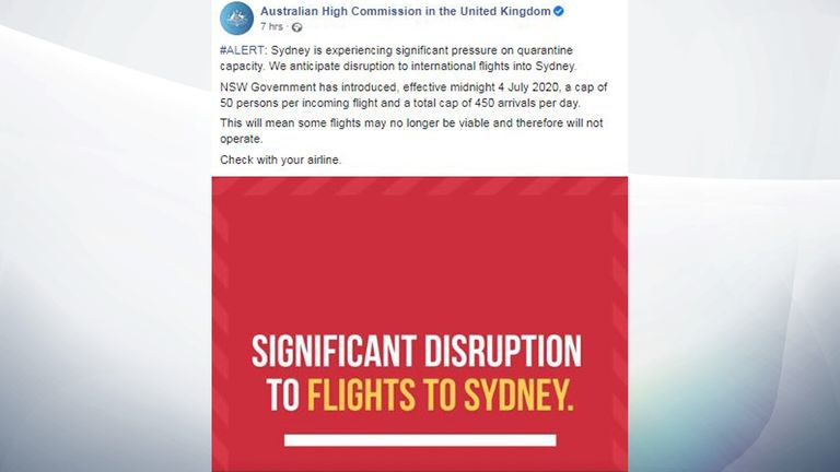 A warning on the Facebook page of the Australian High Commission in the UK