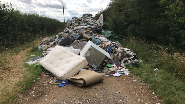 Forty tonnes of rubbish was found near Andrew Ward's field