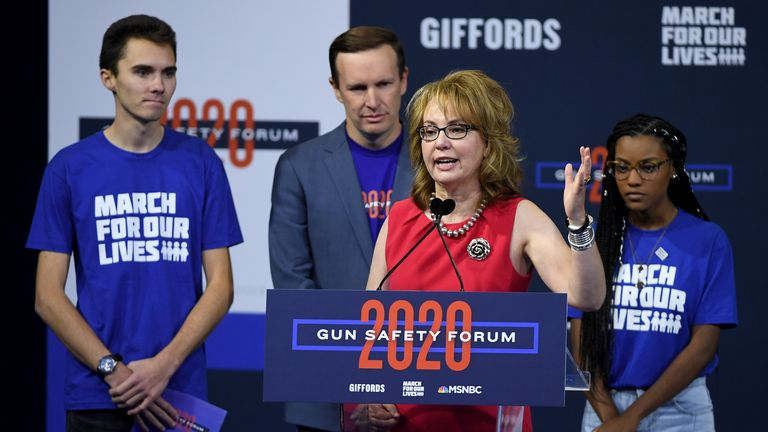Gabby Giffords at a gun safety forum in October 2019