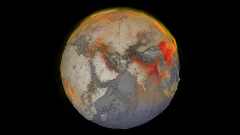 A visualization of global methane on January 26, 2018. Red shows areas with higher concentrations of methane in the atmosphere. Credit: Cindy Starr, Kel Elkins, Greg Shirah and Trent L. Schindler, NASA Scientific Visualization Studio