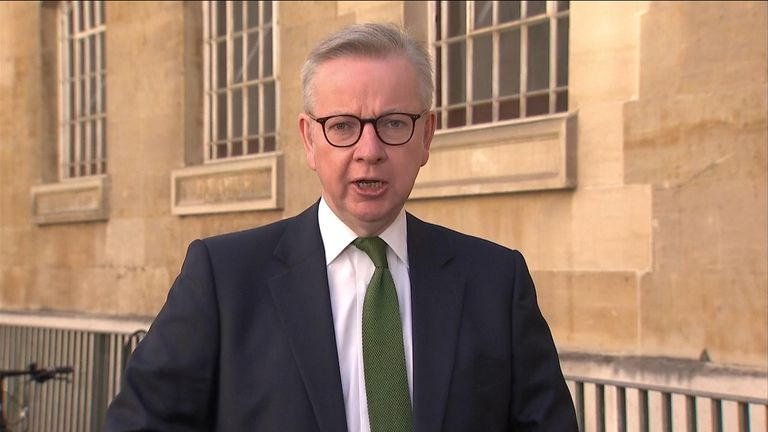 "Cabinet Office Minister Michael Gove confirms that the government's ""stay at home message"" has been scrapped."