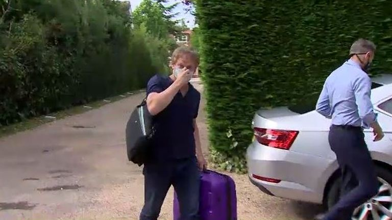 Transport Secretary Grant Shapps arrives back in the UK after flying home from Spain