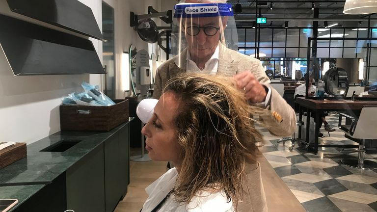 Lauren Saul getting her hair done in London