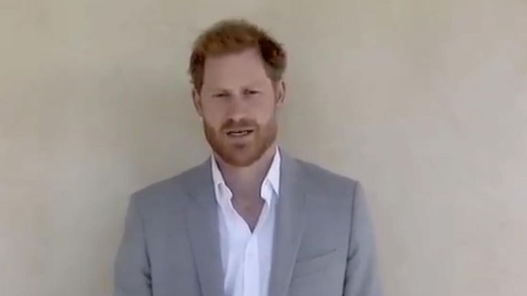 The Duke of Sussex paid tribute to young people working to make a change as he presented a Princess Diana Award