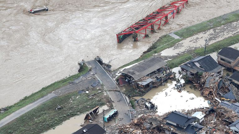 An aerial view shows flood-hit area in Hitoyoshi, Kumamoto prefecture on July 4, 2020