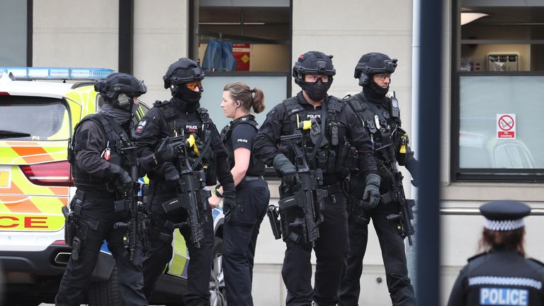 Armed police at the Royal Sussex County Hospital in Brighton on Sunday