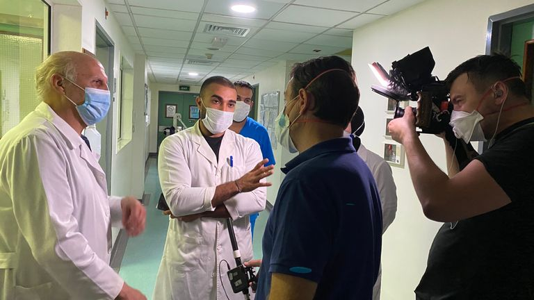 The Sky News team was offered a tour of the hospital