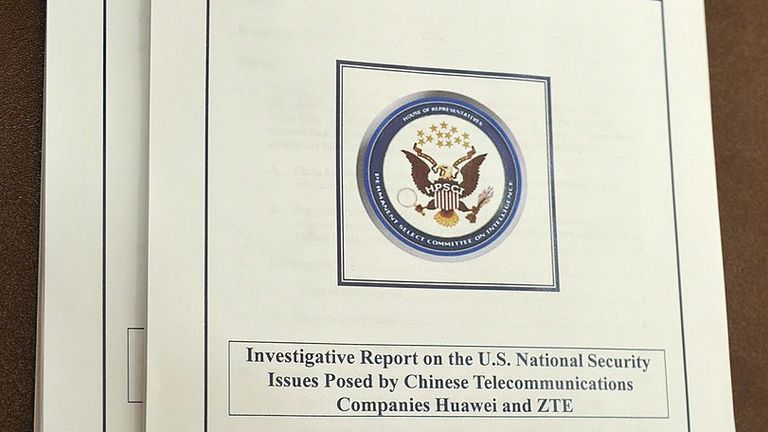 "Copies of the ""Investigative Report on the US National Security Issues posed by Chinese Telecommunications Companies Huawei and ZTE"" are seen on a table during a press conference to announce their release October 8, 2012 in the House Visitors Center of the US Capitol in Washington, DC. AFP PHOTO/Mandel NGAN (Photo credit should read MANDEL NGAN/AFP/GettyImages)"