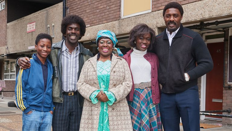 Sammy Kamara as Kobna, Jimmy Akingbola as Valentine, Ellen Thomas as MamA, Madeline Appiah as Agnes and Idris Elba as Walter in In The Long Run. Pic: Sky UK/ Justin Downing