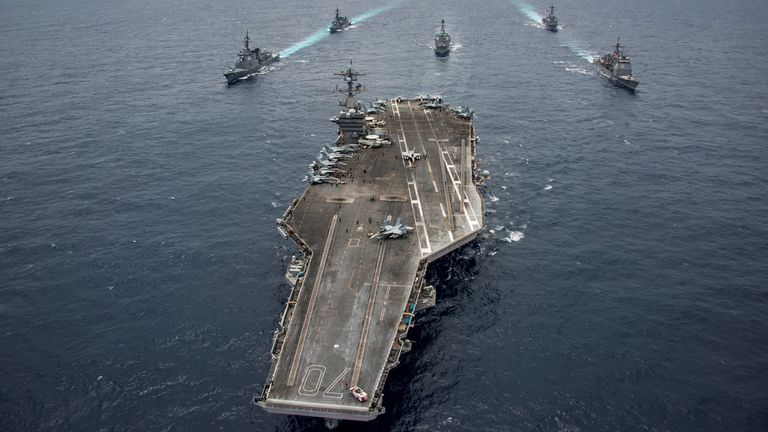 The US navy's Nimitz-class carriers, pictured, routinely sailinto the Persian Gulf