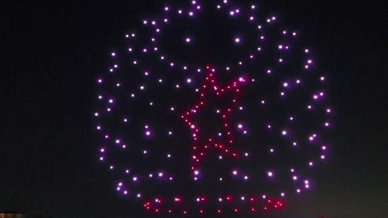 Some 200 drones lit up the sky in Istanbul late to mark the fourth anniversary of July 15, 2016 putsch