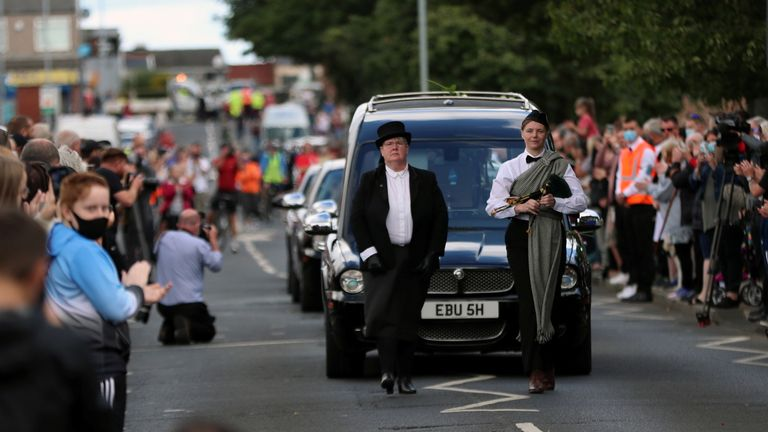 People attend the funeral procession of Jack Charlton, a soccer World Cup winner with England and former Republic of Ireland boss