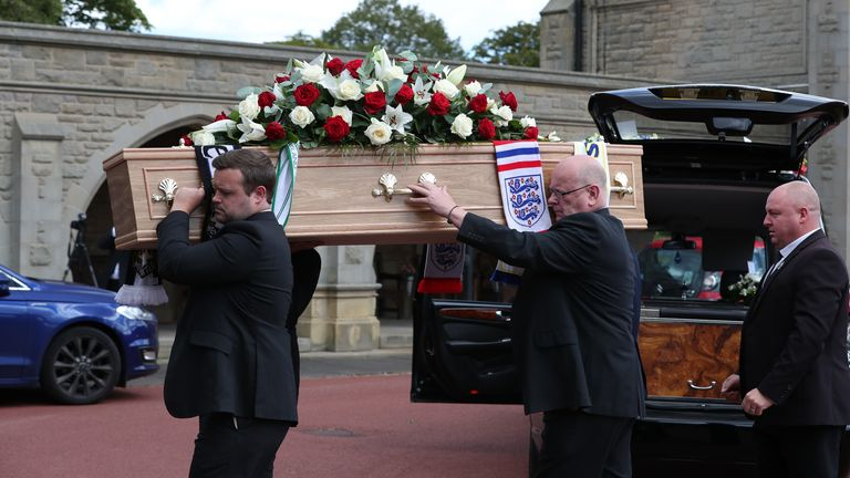 Charlton was laid to rest at a service in Northumberland