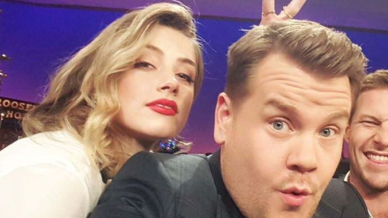 Picture shown in court of Amber Heard's appearance on James Corden's The Late Late Show