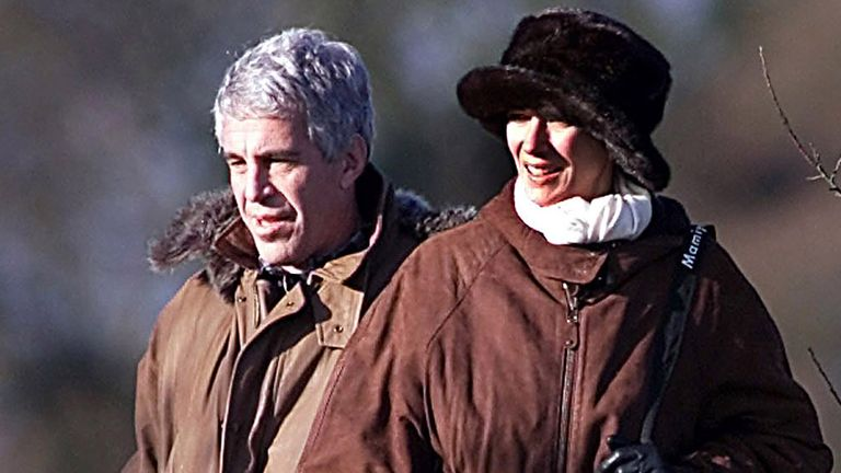 Jeffrey Epstein and Ghislaine Maxwell on a pheasant shoot with Prince Andrew, Sandringham, Norfolk. Pic: Albanpix/Shutterstock
