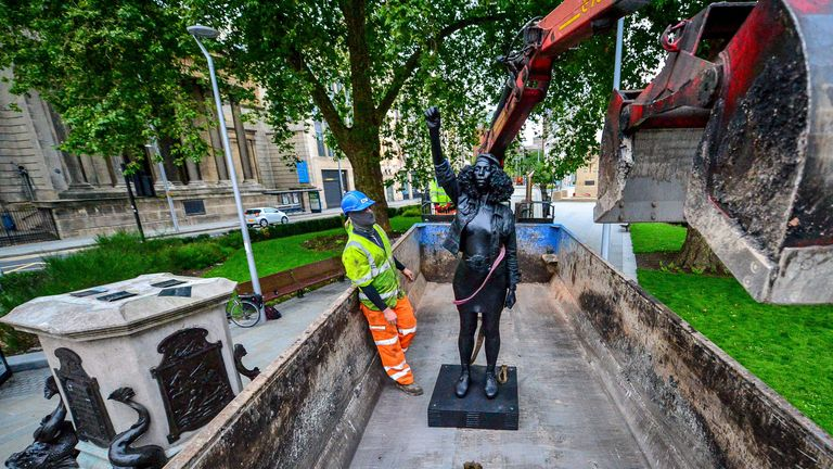 The statue of Jen Reid was removed by council contractors on Thursday morning