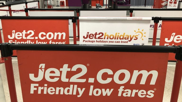 Empty check-in lines at the Jet2 check in desk at Edinburgh Airport. PA Photo. Picture date: Saturday March 14, 2020. See PA story HEALTH Coronavirus. Photo credit should read: Andrew Milligan/PA Wire