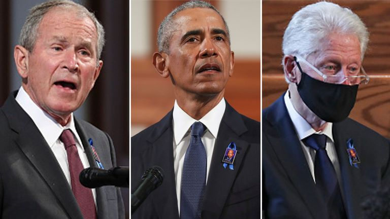 Three former presidents all spoke at the funeral