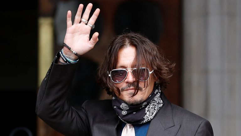 Johnny Depp pictured outside The High Court on day two of his libel action against The Sun