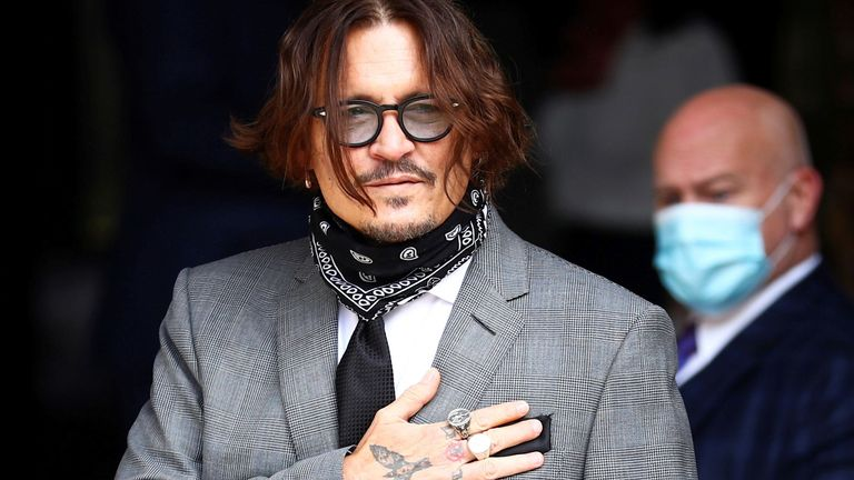 Actor Johnny Depp arrives at the High Court in London, Britain July 13, 2020