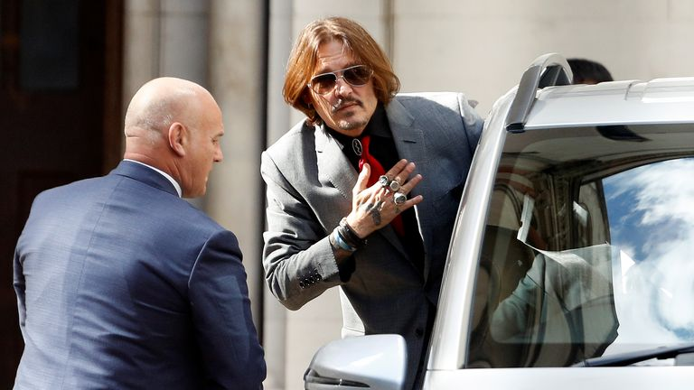 Johnny Depp leaves the High Court on 21 July 2020