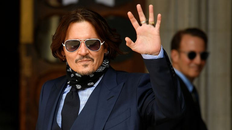 Actor Johnny Depp arrives at the High Court in London, Britain July 14, 2020. REUTERS/Toby Melville