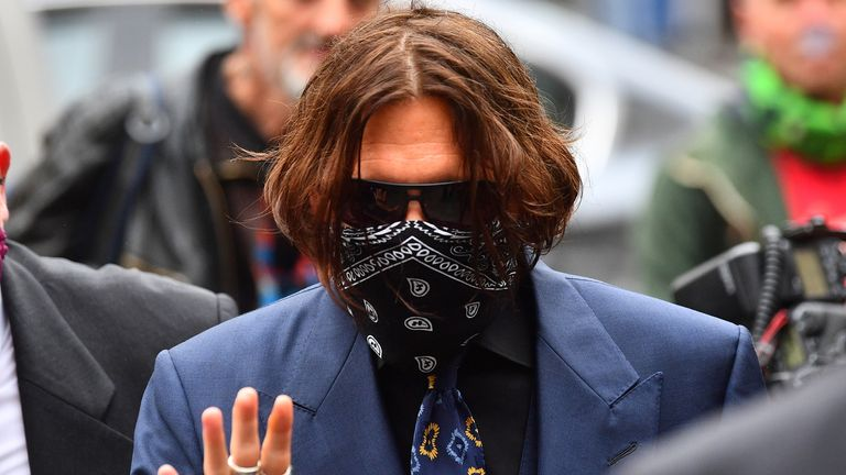 Actor Johnny Depp arriving at the High Court in London for a hearing in his libel case against the publishers of The Sun and its executive editor, Dan Wootton.