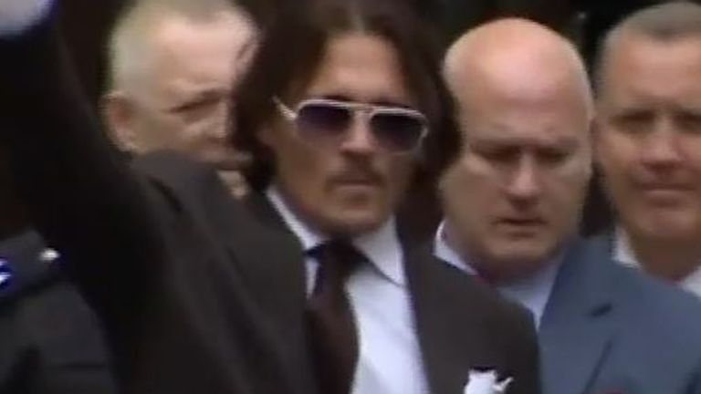 Johnny Depp is seen departing after day four of his libel court case in London