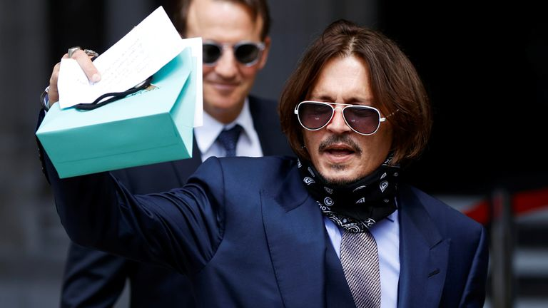 Johnny Depp arrives at the High Court on 17 July
