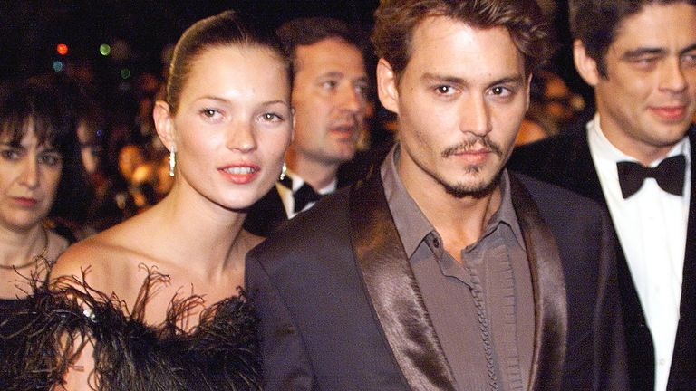 Johnny Depp and Kate Moss in the 1990s