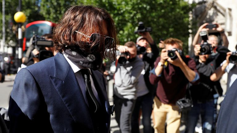 Johnny Depp arrives at the High Court for the first day of his libel trial against The Sun