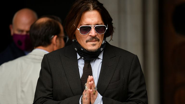 Johnny Depp arrives at the High Court on day seven of his action against the publishers of The Sun