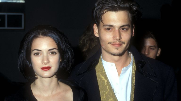 Winona Ryder & Johnny Depp at the Edward Scissorhands premiere in 1990