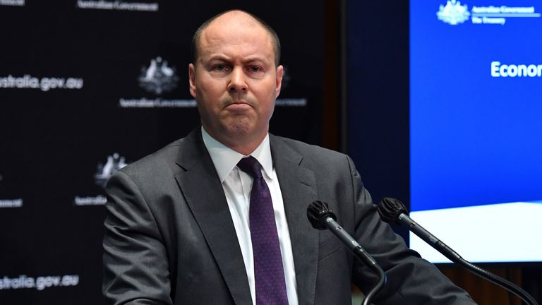Treasurer Josh Frydenberg during a press conference in the Main Committee Room at Parliament House on July 23, 2020