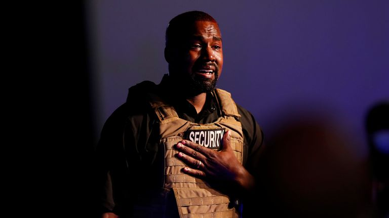 Rapper Kanye West gets emotional as he holds his first rally in support of his presidential bid in North Charleston, South Carolina, U.S. July 19, 2020. REUTERS/Randall Hill