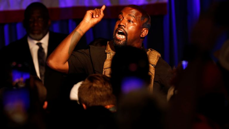 Rapper Kanye West holds his first rally in support of his presidential bid in North Charleston, South Carolina