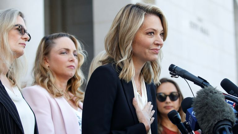 """Katherine Kendall speaks with """"The Silence Breakers"""", a group of women who spoke out about Harvey Weinstein's sexual misconduct during a news conference outside Los Angeles City Hall in Los Angeles"""