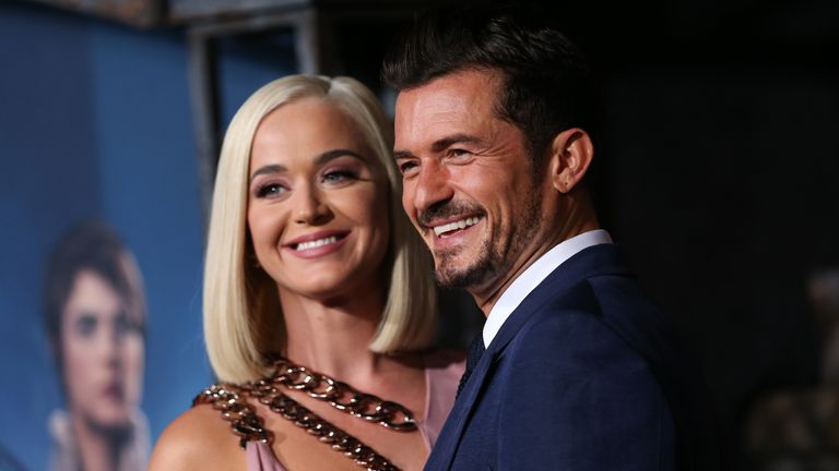 """Katy Perry and Orlando Bloom attend the LA premiere of Amazon's """"Carnival Row"""" at TCL Chinese Theatre on August 21, 2019 in Hollywood, California"""