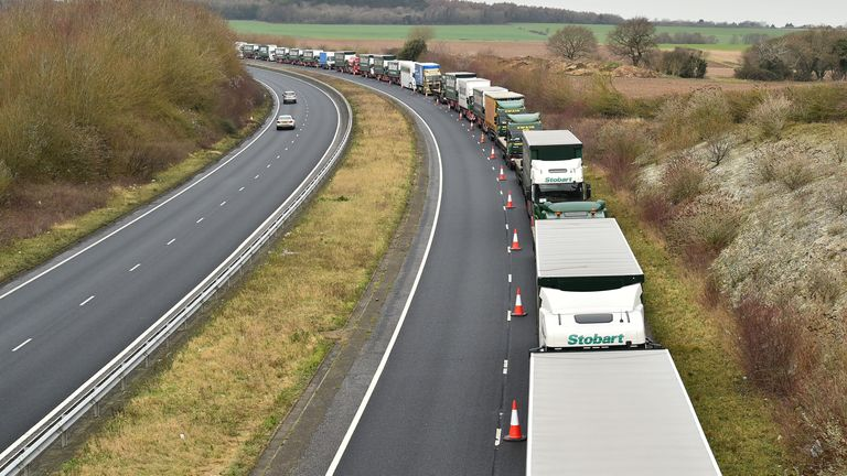 The government has been practising how to hold lorries in Kent in anticipation of delays when the Brexit transition period ends