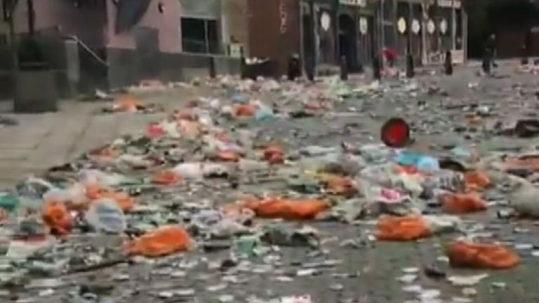 A clean up operation was underway in the city centre of Leeds, after LUFC fans celebrated their side's Championship title win