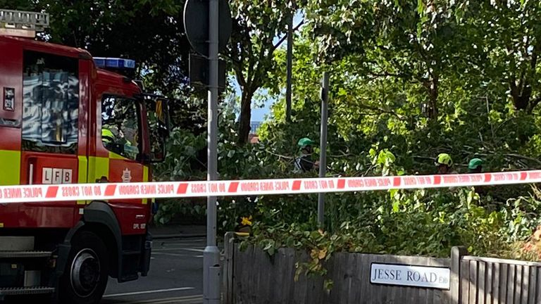 Emergency services at the scene in Leyton