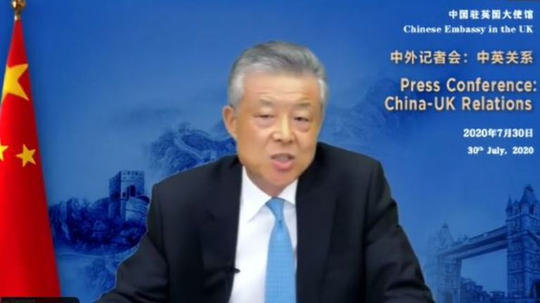 Liu Xiaoming, China's ambassador to the UK, during a live news conference on Twitter