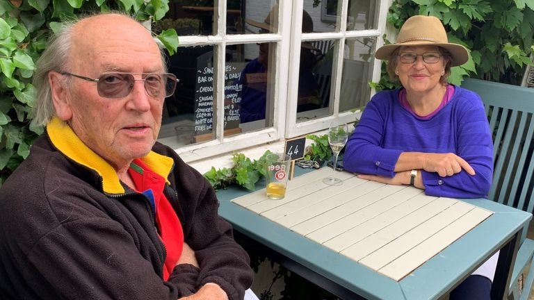 91 year old Peter Miles and Maria Hannison at a pub in Ascot