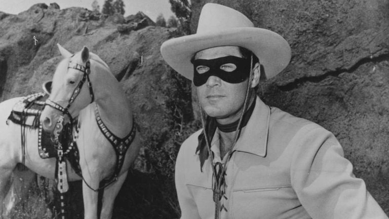 A picture of the late actor Clayton Moore in his Lone Ranger costume. Moore starred as the Lone Ranger on TV from 1949 to 1952