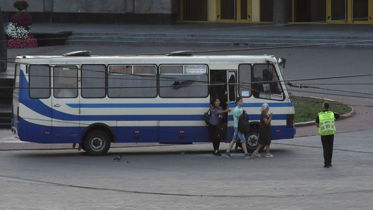 Three hostages were released from the bus before the armed man was detained