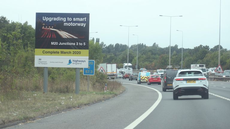 Large parts of the M20 have been converted into a 'smart motorway'