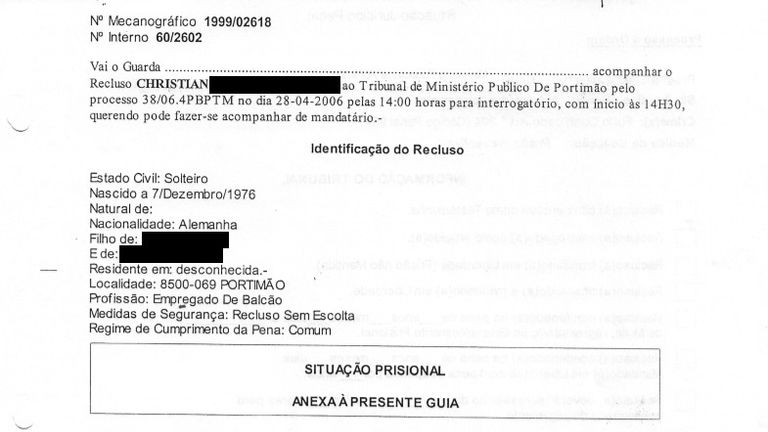 Redacted document regarding Christian B, the main suspect over the disappearance of Madeleine McCann