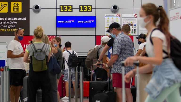 British tourists in Majorca wait for a flight back to London