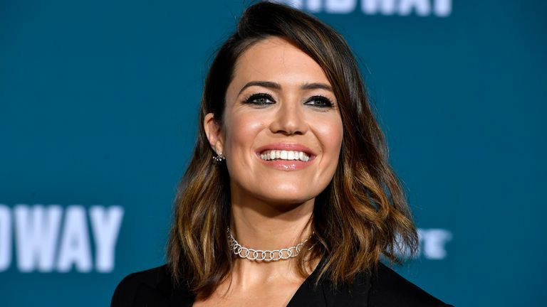 "Mandy Moore attends the Premiere Of Lionsgate's ""Midway"" at Regency Village Theatre on November 05, 2019 in Westwood, California"